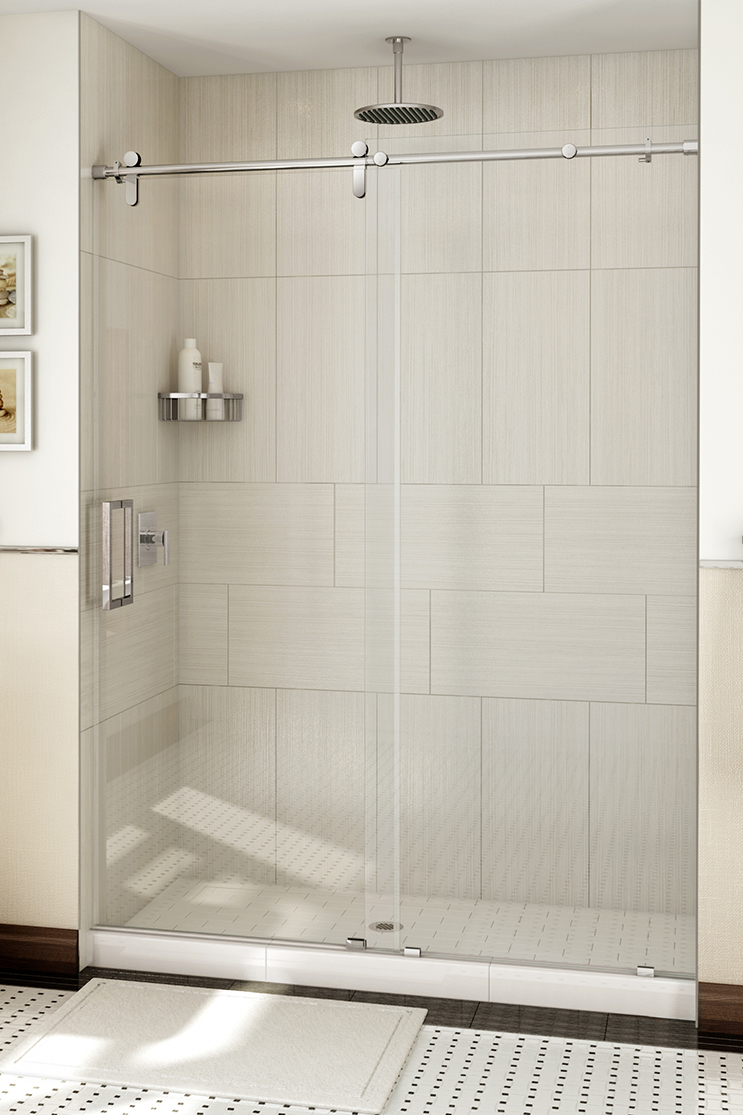 Heavy shower doors in a bathroom