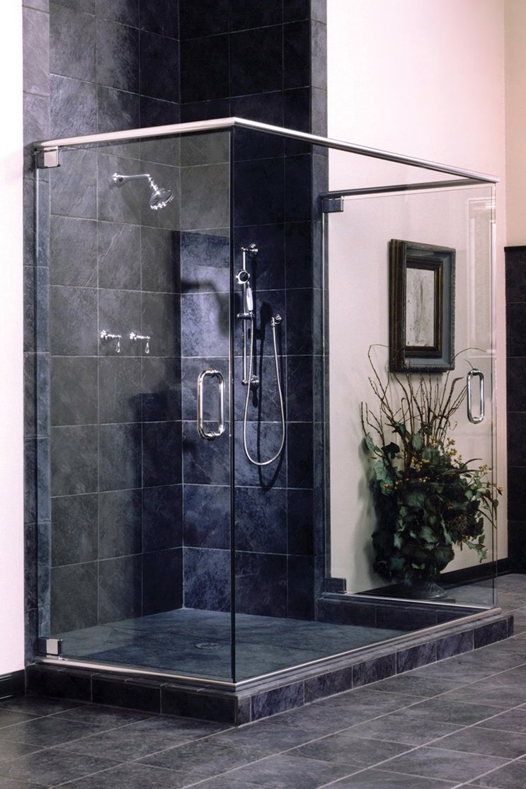 Heavy glass shower doors installed