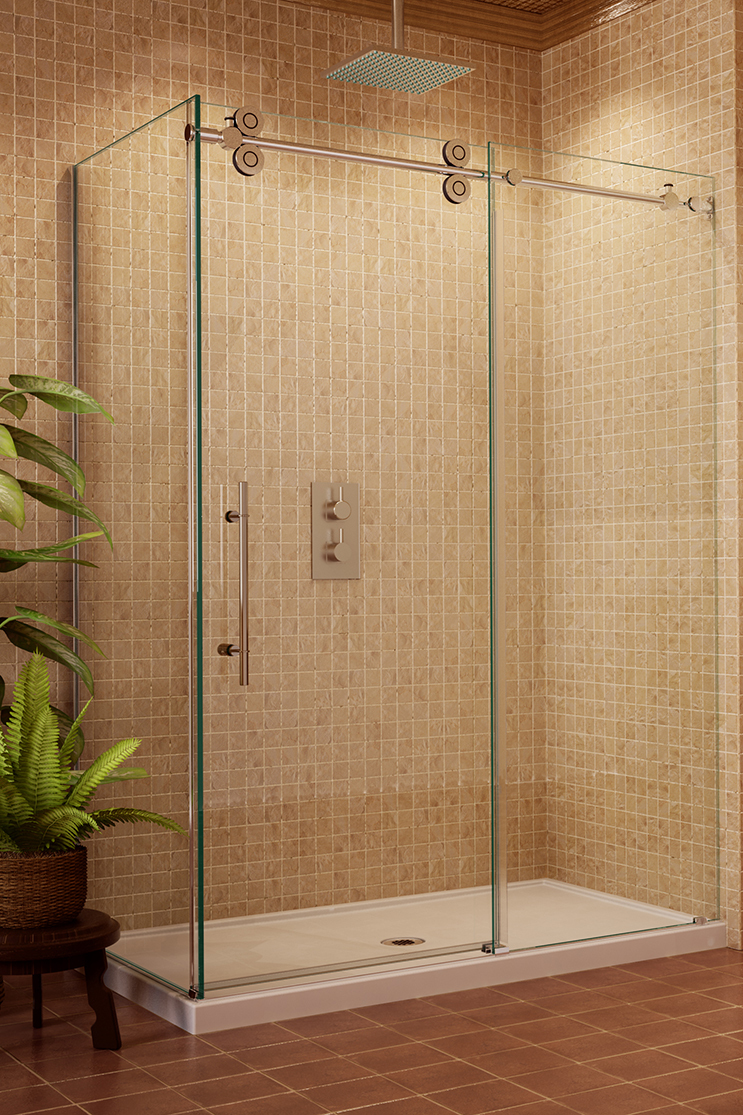 White bathroom heavy shower doors