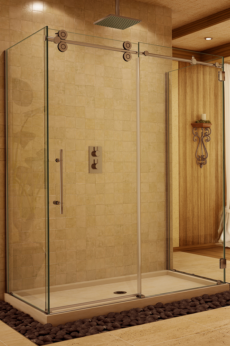 Heavy glass shower doors in bathroom