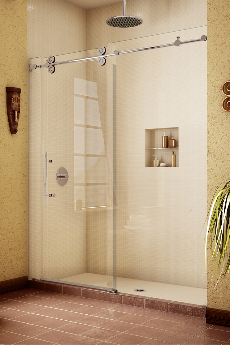 White bathroom with heavy shower doors installed