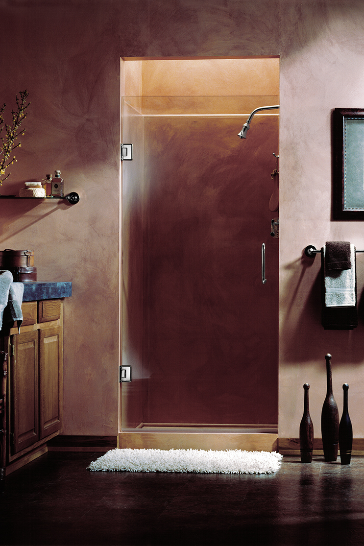 Stone bathroom heavy shower doors