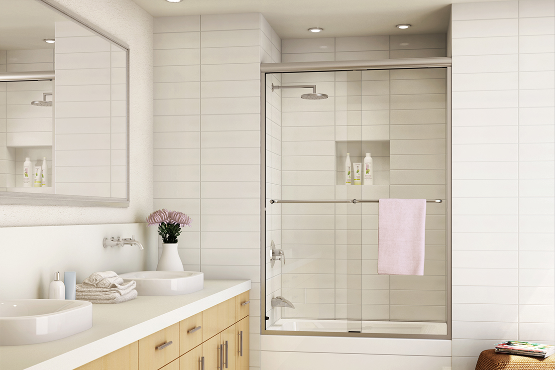 A Standard Shower Door in a Shower