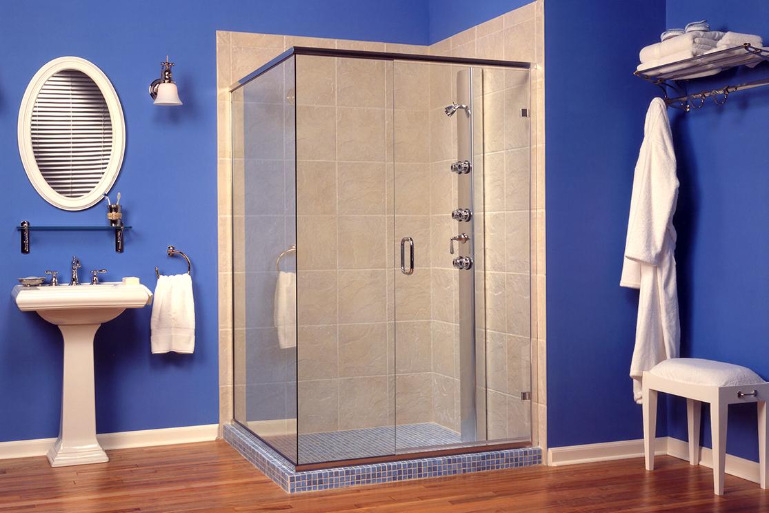 Blue bathroom standard shower door