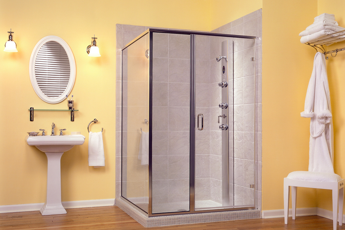 Yellow bathroom standard shower door