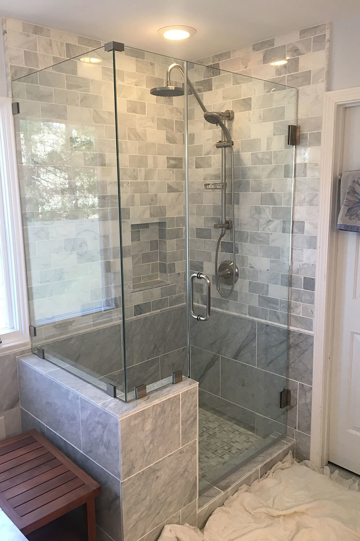 Alamance Glass granite wall shower door
