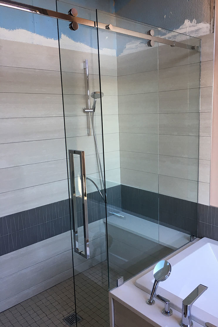 Shower door install with partner Mobile Glass